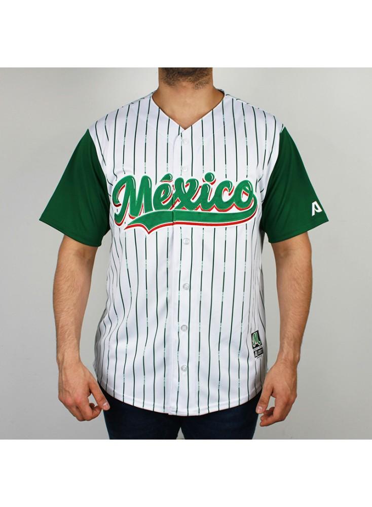 Presenta rayas verticales y delgadas en color verde al estilo pinstripes.  Las mangas también son en un tono verde sólido. La tipografía de México al  pequeño ... 6dc38d01d9fcd